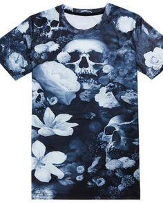 110fa2006822 Flower skull head 3d tshirt short sleeve for guys Flower Shorts