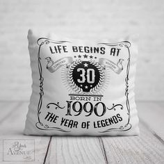 Items similar to BIRTHDAY Cushion for Him / Birthday Gift Men Life Begins At 30 Birthday Present 1990 Year Legends Friend Brother Boyfriend Legend on Etsy – Presents for girls 50th Birthday Gifts For Men, 30 Birthday, Birthday Sayings, Birthday Images, Birthday Greetings, Happy Birthday, Daddy Valentine Gifts, Presents For Girls, Quality Printing