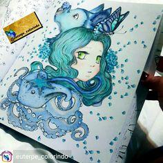 Manga Coloring Book, Mermaid Coloring Book, Cool Coloring Pages, Adult Coloring, Coloring Books, Camilla, Manga Mermaid, Faber Castell Polychromos, Hanna Karlzon