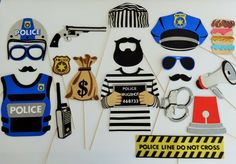 Police Photo Booth Props Law enforcement by weddingphotobooth