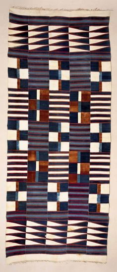 Africa | Prestige cloth ~ kpokpo ~ from the Mende people of Sierra Leone | Early 20th century | Strip woven cotton; this Kpokpo is composed of strips over 13 feet long.