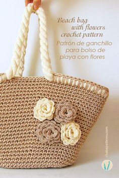 Crochet pattern for beach bag with flowers, chart with symbols, photo tutorial and row by row instructions/ Patrón de gancho para bolso de playa con flores, foto tutorial, esquema con símbolos e instrucciones paso a paso by Chabepatterns