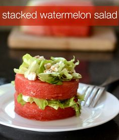 Stacked Watermelon Salad | Real Food Real Deals