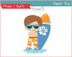 Paper Toy Digital Surfista / Praia   Firula Festas   Elo7