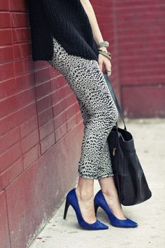 pattern + knit + blue heels #fashion #style