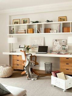 55 Incredible DIY Office Desk Design Ideas and Decor - Office Desk - Ideas of Office Desk - Office inspiration with shelves above desk and built in desk area. Mesa Home Office, Diy Office Desk, Office Shelf, Guest Room Office, Home Office Space, Office Ideas, Office Decor, Office Desks For Home, Office Designs