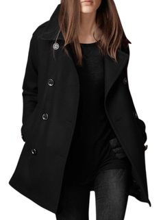 f875396839e Womens Double Breasted Winter Pea Coat with Pockets