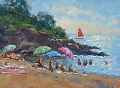 Riviera R and R by Richard Oversmith Oil ~ 12 x 16