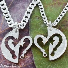 d8b54b1234 Fish Hook heart couples necklace set Hand Cut Coin by NameCoins