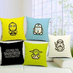 Barato Star Wars dos desenhos animados mestre Yoda Darth Vader R2D2 C3PO impresso 45 * 45 cm Cotton Linen fronhas capa de almofada para o sofá de casa SMC234, Compro Qualidade Capas de almofadas diretamente de fornecedores da China: