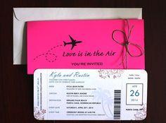 Pink Destination Wedding / Airline Ticket por ElegantDesignsByKyla