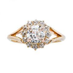 Pearl Able Anillo Toi Me Perla Y Diamante Oro Amarillo Clásico