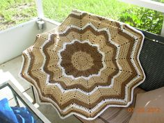 SALE TODAY ONLY-Cream De Cafe Round Ripple Afghan by AprilAdriance