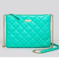 BNWT Kate Spade Teal Quilted Crossbody Purse! Brand new with tags beautiful Kate Spade quilted crossbody bag! Never been used, comes with original tags & paper stuffing! Has a silvery gold chain that would match either metal! The Kate Spade logo still has original plastic sticker on it! Perfect for going out or a casual outfit! Only selling because I have two! Originally 248$ open to offers & trades just lmk  kate spade Bags Crossbody Bags