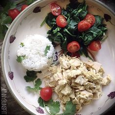 Steamed spinach, cilantro rice and honey mustard shredded chicken #preworkout
