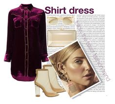 """""""shirt dress"""" by sahrish-hossain ❤ liked on Polyvore featuring Oris, Yves Saint Laurent, Judith Leiber and Oliver Peoples"""