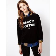 Pull&Bear Black Coffee Sweatshirt found on Polyvore featuring polyvore, fashion, clothing, tops, hoodies, sweatshirts, black, black sweatshirt, patterned sweatshirts and sweat shirts