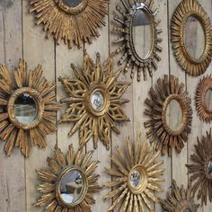 Group of 12 Spanish Sunburst Mirrors - Decorative Collective Gold Sunburst Mirror, Sun Mirror, Mirror House, Mirror Walls, Antiques Online, Selling Antiques, Mirror Gallery Wall, Small Wall Mirrors, Vintage Mirrors