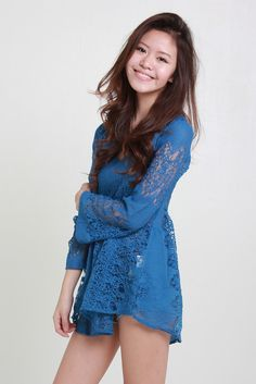 BRENDA LACE BABYDOLL - BLUE available from www.bellablizz.com Lace Babydoll, Playsuits, Coachella, Baby Dolls, Boho Chic, Cold Shoulder Dress, Rompers, Casual, Skirts