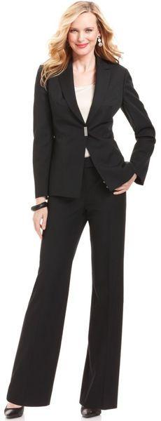 Tahari Pinstripe Pant Suit in Black | Lyst
