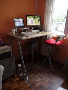 IKEA DIY standing desk option 2. I don't think I'll need to put the legs up on anything since I'm short.