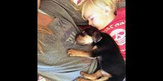 Puppy Theo & young Beau sleep in mother's arms - © Jessica Shyba