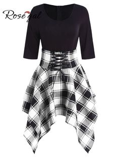 fashion dresses Women Lace Up Plaid Asymmetrical Dress O-Neck Description Occasion: Daily Style: Casual Material: Cotton,Polyester Silhouette: Asymmetrical Dresses Length: Knee-L Edgy Outfits, Cute Casual Outfits, Pretty Outfits, Pretty Dresses, Elegant Dresses, Awesome Dresses, Dress Casual, Formal Dresses, Wedding Dresses