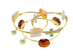 Crystal Wire Bangle Set of 3 Yellow Agate Amber Cross
