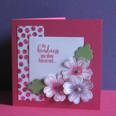 Card made with the Stampin Up Flower Shop stamp set and co-ordinating punch.