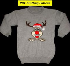 Childrens /& Adults Christmas Rudolph Jumper Knitting Patterns x15 on Disc #1