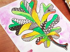 Zentangle Fall Leaf Art Project - The Crafty Classroom Art Lessons For Kids, Art Lessons Elementary, Art For Kids, Leaf Template, Owl Templates, Crown Template, Applique Templates, Flower Template, Applique Patterns