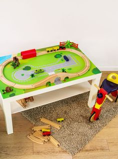 "Spieltisch ""Spielwiese"" Lucca, Kids Furniture, Painted Furniture, Ikea Hack Kids, Handmade Wooden Toys, Kids Decor, Home Decor, Jouer, Poker Table"