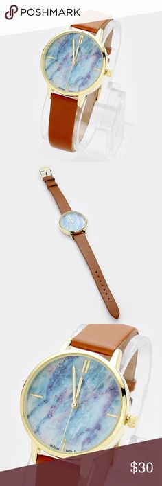 """Marble Dial Leather Watch [grandavenue: 321880]  • Color : Multi/Brown  • Size : 33 mm, 9"""" L • Marble dial faux leather band watch Accessories Watches"""