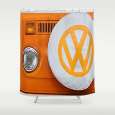 Volkswagen Orange Shower Curtain by Alice Gosling - $68.00 #shower #bathroom #homedecor #VW #Volkswagen #CamperVan #Bus #orange #classic #retro
