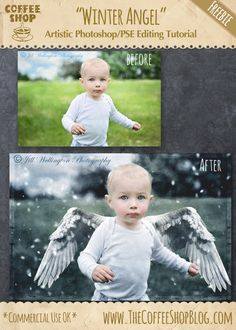 """The CoffeeShop Blog: CoffeeShop """"Winter Angel"""" Artistic Editing Tutorial for Photoshop/PSE: Part 2!"""