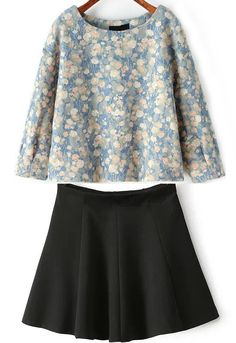 Blue Round Neck Floral Top With Black Pleated Skirt $30