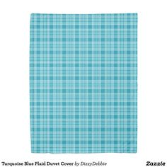 Turquoise Blue Plaid Duvet Cover