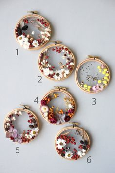 Image of Floral hoops 4 inch Embroidery Hoop Crafts, Floral Embroidery Patterns, Hand Embroidery Designs, Embroidery Art, Flower Crafts, Diy Flowers, Diy Crafts To Sell, Diy Crafts For Kids, Diy Broderie