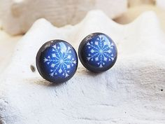 Navy Blue Stud Earrings Planet Pluto Stud Earrings Space Jewelry Galaxy Earrings Solar System Jewelry For Her Gifts For Her