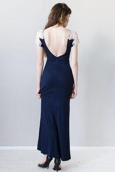 vintage inspired navy blue low back maxi dress