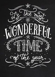 Most Wonderful Time of the Year Personalized Christmas Sign, Festive Wall Decor, Christmas Sign, Holiday - Creative Art - Weihnachten Christmas Quotes, Christmas Signs, Christmas Art, Christmas Holidays, Christmas Decorations, Christmas And New Year, Christmas Shopping, Chalkboard Lettering, Chalkboard Designs