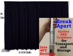 Portable Pipe and Drape Backdrop with Break-Apart components from OnlineEEI.com