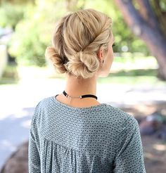 If you need to look cute in a hurry but maybe your hair isn't the cleanest, hit it with some Big Sexy Hair Volumizing Dry Shampoo and twist hair back into these adorable low buns. You'll look put together with minimal effort. https://www.sexyhair.com/products/volumizing-dry-shampoo.html