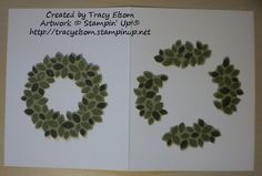 Make a larger wreath using Wondrous Wreath stamp set and Wonderful Wreath Framelit dies from the Stampin' Up! 2014 Holiday Catalogue. http://tracyelsom.stampinup.net