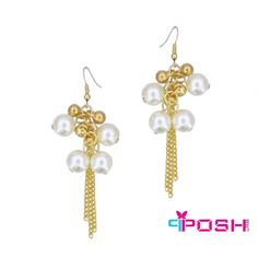 Posh NOA- Earrings - Infinity glass pearl earrings - Gold coloured chain drop tassels - Dimension: x - Length: POSH by FERI - Passion for Fashion - Luxury fashion jewelry for the designer in you. Fashion Earrings, Fashion Jewelry, Women Jewelry, High Quality Costumes, Pearl Earrings, Drop Earrings, Best Relationship, Passion For Fashion, Costume Jewelry