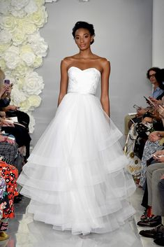 Must-Have Wedding Gown Trends for 2019 Theia Tiered Wedding Gown Wedding Dress - Jonathan Alonso (ww Most Expensive Wedding Dress, Wedding Dresses For Sale, Bridal Wedding Dresses, White Wedding Dresses, Theia Bridal, Celebrity Wedding Gowns, Bridal Fashion Week, Camellia, Bodice