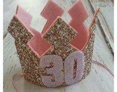 Rosa y oro Glittery 40 corona de cumpleaños Corona de