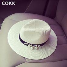 COKK Nova Primavera Verão Chapéus Para Mulheres Contas Flor Grande chapéu de aba larga do Chapéu Panamá Jazz Chapeu Feminino Pala de Sol Chapéu de Praia Cappello(China (Mainland))