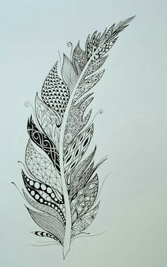 Feather Drawing, Feather Art, Feather Tattoos, Simple Flower Drawing, Floral Drawing, Madhubani Art, Madhubani Painting, Zentangle Patterns, Zentangles
