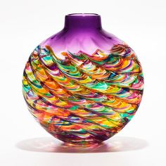 Flat Optic Rib Vase in Candy with Grape - Art Glass Vase - Created by Michael Trimpol